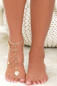 """As the night goes on, the Walk of Life Gold Foot Bracelet will keep you dancing 'til dawn! Layers of shiny gold chain and coin-like charms meet with a toe loop to form this jingly anklet! Chain measures 5"""""""" from ankle to ring. Anklet measures 9.5"""""""" around, plus a 3"""""""" extender chain. #CuteDresses #TrendyTops, #FashionShoes #JuniorsClothing"""