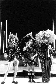 Pyramus (Dan Hiatt- left) woos Thisbe (Peter Massey-right) over the Wall (Clive Chafer) in MIDSUMMER NIGHT'S DREAM at the California Shakespeare Festival, 1991. Photo by: David Allen #calshakes40th