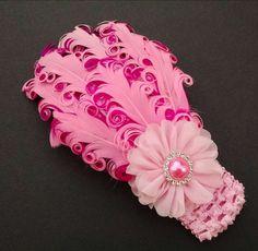 Feather Headband Baby Girl Headband Pink by GloriaMillerCreation
