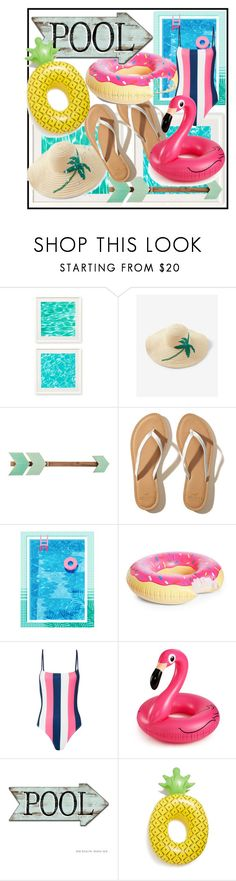 """Pool party!"" by makayla-nightwood ❤ liked on Polyvore featuring Two's Company, Express, Hollister Co., Big Mouth and Solid & Striped"