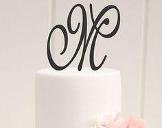 Personalized Monogram Wedding Cake Topper - 5 Inch Monogram Letter Cake Topper