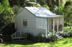 Beach Style Cabin 4.8x4.2m Attractive design with gable ends, verandah and screening. Looks lovely planted in.