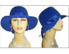 Vintage 1950s Hat Roayl Blue Femme Fatale Couture Mad Men Garden Party Rockabilly Designer Dress Pinup Bombshell Coat Jacket