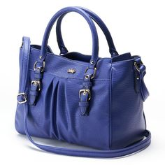 NWT  Authentic Juicy Couture Large Faux-Leather Madison AVORY/ BLUE Satchel #JuicyCouture #Satchel