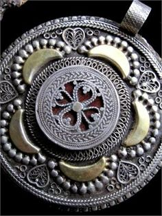 Extra Large Kazakh Tribal Jewelry Pendant - Handcrafted Silver