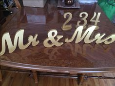 """Rental: Gold Wooden """"Mr."""" & Mrs' Sign for your Sweetheart Table"""