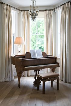 Piano in front of window. Make curtains larger scale than piano. Piano Living Rooms, Living Room Windows, My Living Room, Living Room Decor, Dining Room, Bay Window Treatments, Window Coverings, Bay Window Curtains, Windows