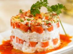 Ensalada de Merluza y Surimi Vanilla Cake, Feta, Mashed Potatoes, Cheesecake, Easy Meals, Cooking Recipes, Ethnic Recipes, Desserts, Ideas