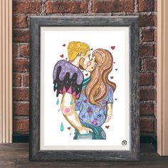 Romantic couple A4 illustration art print couple drawing by mmuffn