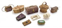 Ten Sets of Antique Doll's Sewing Kits, Width of widest : Lot 409