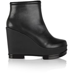 Robert Clergerie - Sarla Leather Wedge Ankle Boots ($417) ❤ liked on Polyvore featuring shoes, boots, ankle booties, black, short black boots, leather wedge booties, black wedge ankle booties, black wedge boots and black wedge booties