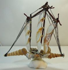 Unique-Clam-and-Sea-Shells-Hand-Made-Sail-Boat-Ship-With-Rope-and-Stick-Rigging