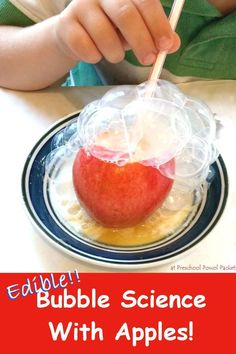 Bubble Science Experiment With Apples! Edible Bubble Science With Apples! Perfect for toddlers, preschoolers, and older children!Edible Bubble Science With Apples! Perfect for toddlers, preschoolers, and older children! Preschool Science Activities, Science Activities For Kids, Kindergarten Science, Science For Kids, Science Fun, Science For Preschoolers, Science Ideas, Physical Science, Science Centers
