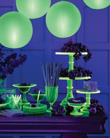 Halloween spooky glow-in-the-dark party pleasers. How-Tos  Black Light Basics  Glowing Cups and Candlesticks  Lustrous Wreath  Haunted Portrait  Luminous Cake Stand  Skeleton Treat-Bag Labels  Spiderweb Tablecloth  Cocktail Clip-Art Labels~martha stewart