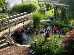 Cottage Landscape/Yard with The Solar Depot Large Fiberglass Solar Lighthouse, Pond, Water feature, Trellis, Pathway, Arbor