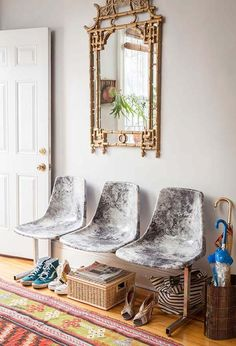 """I've been putting a lot of thought into the seating situation I'm going to have in my studio – it's really just one big room, besides a front office, so I have to figure out some interesting solutions. While poking around I spotted these chairs on Design Sponge and thought, """"wow, it's so cool that modern... Read More »"""