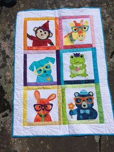 #baby quilt #animals #applique #monkey #puppy #giraffe #frog#bunny#bear