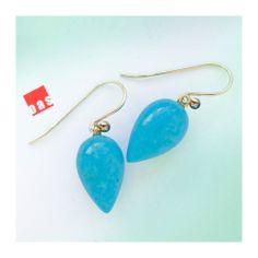 18 Karat Gold Sleeping Beauty Turquoise Acorn Earrings A-62146 Lever Back Option #oas #DropDangle