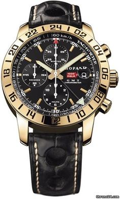 Chopard Mille Miglia GMT, Black Dial - Rose Gold on Strap Strap $14,650 chronograph lack Dial - Rose Gold on Strap