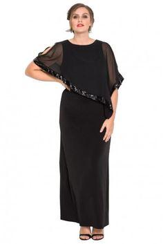 c32c89edf5d Black Plus Size Cold Shoulder Sequin Mesh Poncho Maxi Dress
