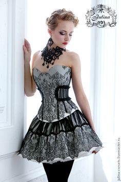 Купить Корсет Инфанта кружево Шантильи - чёрно-белый, корсет, юбка, вечернее платье