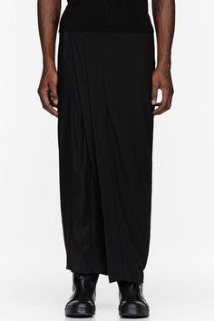 JULIUS Black Draped Crepe Wide-Leg Trousers