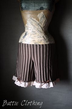 Steampunk brown stripe bloomers shorts by BattieClothing on Etsy, £23.00