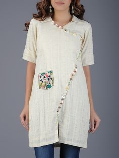 Buy Ivory Pink Green Collared Handwoven Khadi Tunic with Embroidered Pocket… Tunic Designs, Kurta Designs Women, Dress Designs, Clothing Patterns, Dress Patterns, Indian Maternity Wear, Crochet Tunic Pattern, Kurti Styles, Indian Designer Wear