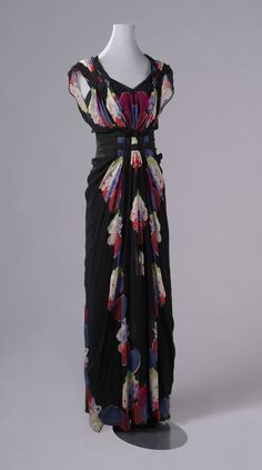 Evening Dress with a Mirrored Floral Pattern, Nina Ricci, c. 1938