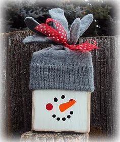 Glove and Block Snowman