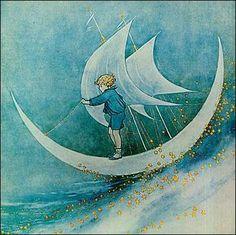 Steering the crescent moon boat - by Ida Rentoul Outhwaite <> (art, illustration, sun, moon, stars state of mind) Vintage Moon, Moon Magic, Children's Book Illustration, Indian Illustration, Moon Art, Moon Child, Stars And Moon, Faeries, Fantasy Art