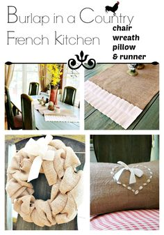 DIY:: Four Beautiful Simple NO SEW Burlap French Country Decor Projects Curated by the Wonderful Debbie @Debbiedoo's Debbiedoos !
