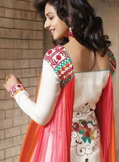 410774, Bollywood Salwar Kameez, Faux Georgette, Resham, Red and Maroon, White and Off White Color Family