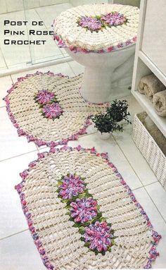 Jogo de Tapetes p Banheiro Croche - PRoseCrochet
