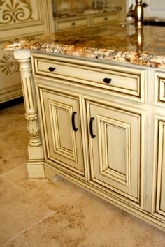 showplace cabinets in soft cream with carmel glazing | water