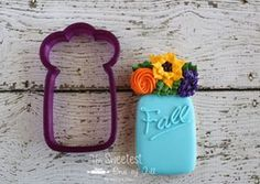 """4.25"""" x 2.5"""" Mason Jar with Flowers Cookie Cutter and Fondant Cutter and Clay Cutter"""