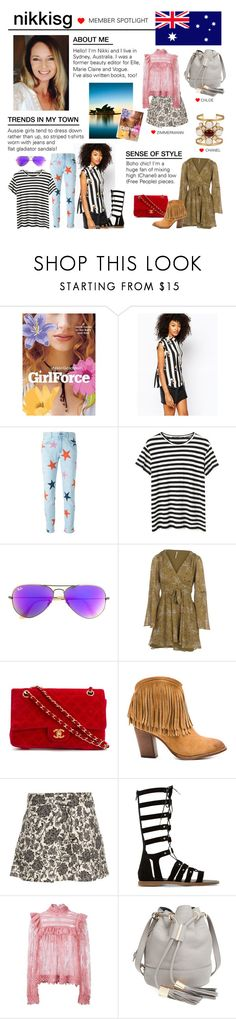 """""""Member Spotlight: Nikkisg"""" by polyvore ❤ liked on Polyvore featuring Monki, STELLA McCARTNEY, Proenza Schouler, Ray-Ban, Free People, Chanel, Frye, Zimmermann, Dune and See by Chloé"""