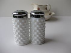 Classic Vintage Fenton Milk Glass Hobnail Salt and Pepper Shakers
