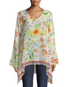 TWSN4 Johnny Was Fiska Flare-Sleeve Floral-Print Blouse