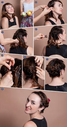 Braided updo for short hair tutorial