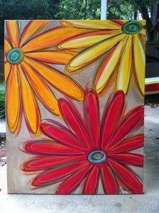 Bright Daisy Painting $50