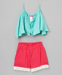 Love this Mint Swing Crop Top & Fuchsia Trim Shorts - Girls by Sugar Berry on Kids Outfits Girls, Cute Girl Outfits, Chic Outfits, Pretty Outfits, Summer Outfits, Fashion Outfits, Pajama Outfits, Crop Top Outfits, Cute Crop Tops