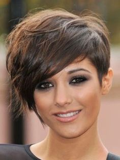 short hair, long bangs, asymmetrical