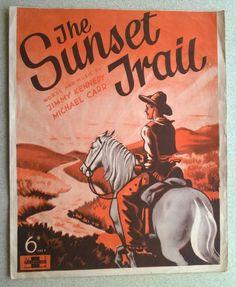 The Sunset Trail Sheet Music for Ukulele, Voice, Piano & Accordion 1936 Piano Accordion, Vintage Sheet Music, Commercial Art, Ukulele, Music Songs, Sunset, Image, Trail, Sunsets