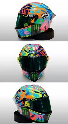 Valentino Rossi's special helmet for misano marco simoncelli circuit 2014 Hand prints of his friends and dog and cat!