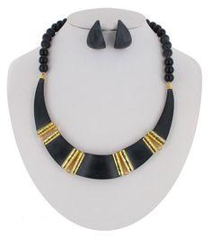 Earrings Necklace Jewelry Set Black Matte Lucite by KensieKitsch