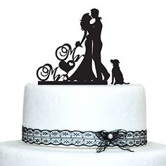 Country Wedding Cakes Romantic Engagement /Wedding Cake Topper Decoration with Dog Pet Puppy - Romantic Bride, Groom with Dog Cake Topper for Engagement, Wedding or Anniversary. Celebrate the remarkable moment and happiness with your lovely pet /Puppy. Wedding Cake Decorations, Wedding Cake Designs, Wedding Cake Toppers, Wedding Desserts, Dog Wedding, Wedding Engagement, Simple Weddings, Romantic Weddings, Bride And Groom Silhouette