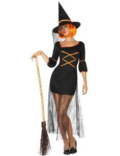 Disfraz de bruja sexy mujer: Este disfraz de bruja incluye vestido y sombrero (escoba y peluca no incluidos).El vestido es corto y negro con cinta naranja.Las mangas son largas y un poco bombachas en el ante brazo.La parte...