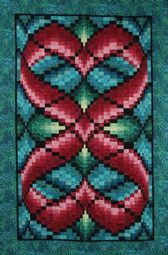 """Hearts Entwined bargello quilt, 46 x 70"""", pattern by Linda McGibbon 