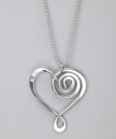 Take a look at this Silver Large Heart Pendant Necklace by aluminations on today! Wire Wrapped Jewelry, Metal Jewelry, Pendant Jewelry, Beaded Jewelry, Handmade Jewelry, Heart Pendant Necklace, Rock Jewelry, Wire Jewellery, Jewellery Earrings